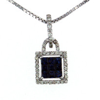 Sapphire .46ct Pendant in 14kt White Gold