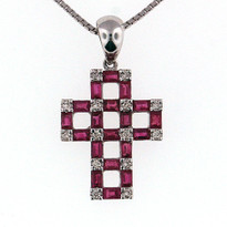 Diamond Cross .11ct Pendant with ruby stone 1.51ct