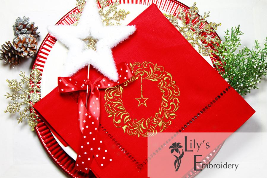 Christmas wreath machine embroidery design