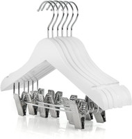 28CM Baby White Wood Hanger With Clips (Sold in Bundles of 25/50/100)