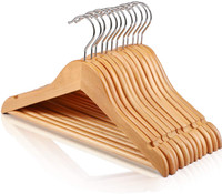 25CM Baby Natural Wood Hanger with Bar (Sold in Bundles of 25/50/100)