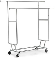 Heavy Duty Chrome Metal Double Rail Clothing Rack W/ Four Large Rubber Casters