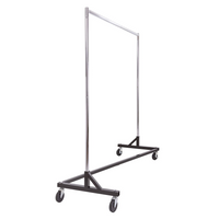 Commercial Heavy Duty Chrome Metal Clothing Rack W/ Four Large Rubber Casters