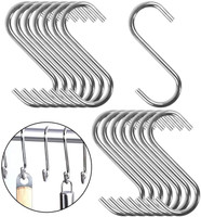 Medium Size 4mm Thick S Metal Hooks - 304 Stainless Steel - Sold in 5/25/50