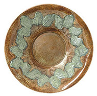 "Achla 12"" Antique Brass Plate With Green Leaves Threaded"