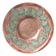 """Achla 16"""" Antique Brass Bird Bath W/ Green Leaves No Thread"""