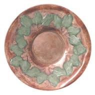 """Achla 16"""" Antique Brass Bird Bath W/Grn Leaves Threaded"""