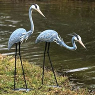 Ancient Graffiti  2 Piece Steel Blue Heron Decoy Statue Set   919