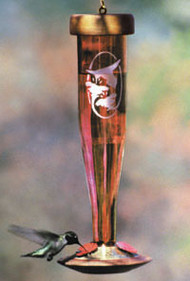 Schrodt Etched Ruby Hummingbird Feeder