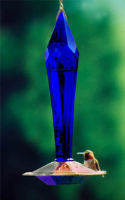 Schrodt Faceted Blue Hummingbird Feeder