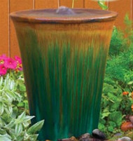 Ceramic V Shaped Urn Tan/Green