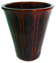 Ceramic V Shaped Urn Tan/Black
