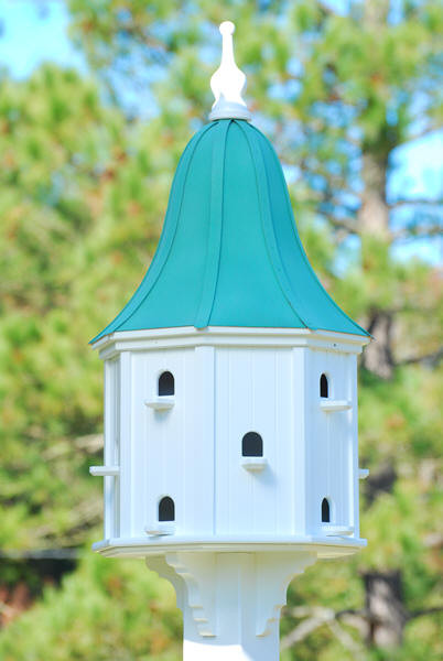 """Fancy Home Products Purple Martin Bird House Patina Copper Roof 22"""" PMH22-12-12-PC"""