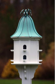 Fancy Home Products Birdhouse Patina Copper Curly Roof BH14-8-PC CURLY