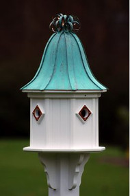 Fancy Home Products Birdhouse Patina Copper Curly Roof BH14-4CP-PC CURLY
