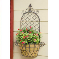 "Deer Park Ironworks Finial ""X"" Wall Basket w/ Coco Liner"