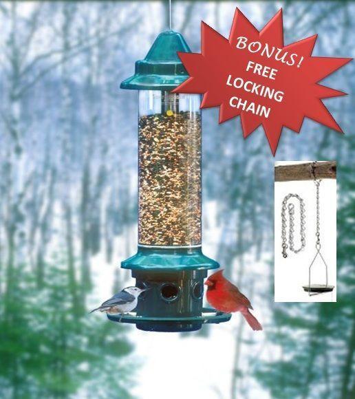 Brome Squirrel Buster Plus Squirrel Proof Bird Feeder 1024 w/ Locking Chain