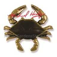 Michael Healy Blue Crab Door Knocker in Brass & Brown Patina MH1151