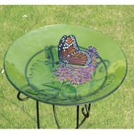 Evergreen Monarch Lilac Glass Birdbath EG2GB025