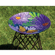 Evergreen Monarch Floral Glass Birdbath EG2GB113