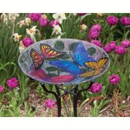 Evergreen Butterfly Collage Glass Birdbath EG2GB119