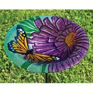 Evergreen Monarch Floral Glass Birdbath with Stake EG2GB131