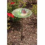 Evergreen Monarch Lilac Glass Birdbath with Stake EG2GM270