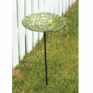 Evergreen Tree of Life Glass Birdbath with Stake EG2GM271