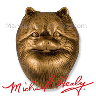 Michael Healy Pomeranian Dog Door Knocker in Bronze MHDOG13