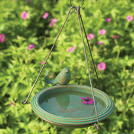 Ancient Graffiti Bird Bath Teal Round Hanging