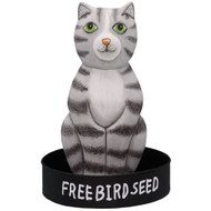 Bobbo Bird Feeder Metal Tray Cat Sit Gray White