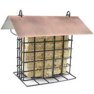PineBush Metal Suet Feeder with Brushed Cooper Roof
