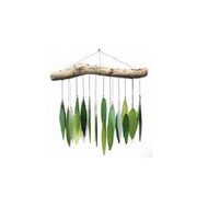 Blue Handworks Spring Leaves & Driftwood Glass Wind Chime