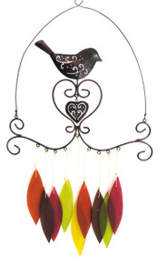 Blue Handworks Bird & Heart Wind Chime
