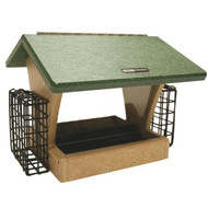 BIRDS CHOICE 4 QT. 2-SIDED HOPPER(RECYC)w/SUETS BIRD FEEDER
