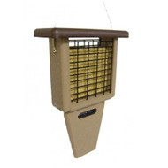 BIRDS CHOICE SGLE-CAKE TAIL-REC.BROWN ROOF BIRD FEEDER
