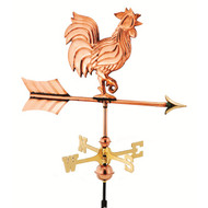 Good Directions Rooster Garden Weathervane - Polished Copper w/Roof Mount  802PR