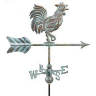 Good Directions Rooster Garden Weathervane - Blue Verde Copper w/Garden Pole  802V1G