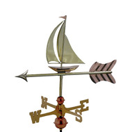 Good Directions Sailboat Garden Weathervane - Polished Copper w/Roof Mount  8803PR