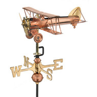 Good Directions Biplane Garden Weathervane - Polished Copper w/Garden Pole  8812PG