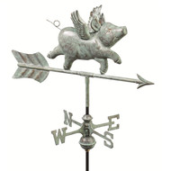 Good Directions Flying Pig Garden Weathervane - Blue Verde Copper w/Roof Mount  8840V1R