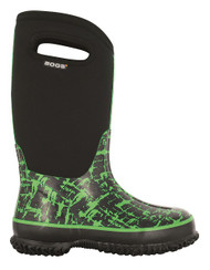 Bogs Kids Classic High Graffiti Green Winter Boots Youth Sizes 1-6