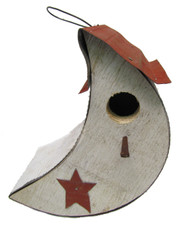 Bird-N-Hand Distressed Wood Moon Birdhouse Decorative Bird House SM26