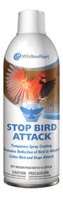 Window Alert Stop Bird Attack Window Spray 9oz Aerosol Can ( WINDSBA)  Some territorial birds vigorously defend their territory. These birds perceive their own reflection in a window to be another bird competing for their mate and attack. Repeated attacks deplete a bird's energy, putting its health and nesting brood at risk. Stop Bird Attack eliminates the bird's window reflection, calms the birds, and stops the attack. The product is a removable, white coating that may be sprayed on any window under attack. Stop Bird Attack is effective for Northern Cardinals, American Robins, California Towhees, and other territorial birds. (9 ounce aerosol can) Stop Bird Attack cannot be shipped to Alaska, Hawaii, or international destinations including Canada.