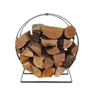 Enclume Indoor/Outdoor Silver Hammered Hoop Firewood Rack with Handle LR34SH