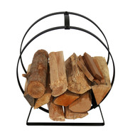 Enclume Indoor/Outdoor Silver Hammered Hoop Firewood Rack with Handle LR34BK