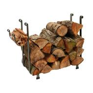Enclume Indoor/Outdoor Large Rectangle Fireplace Log Rack Hammered Steel lr1a-hs-cl