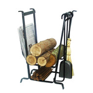 Enclume Complete Hearth Fireplace Log Rack w/ Tools Hammered Steel LR17 HS