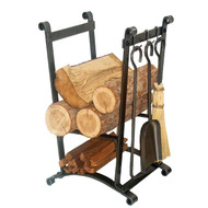 Enclume Compact Curved Fireplace Log Rack w/ Tools Hammered Steel LR16 HS