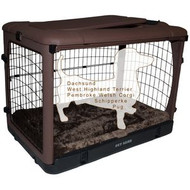 "Pet Gear ""The Other Door"" Steel Crates, Bolster Pad and Carry Bag CHOCOLATE PG5927BCH"